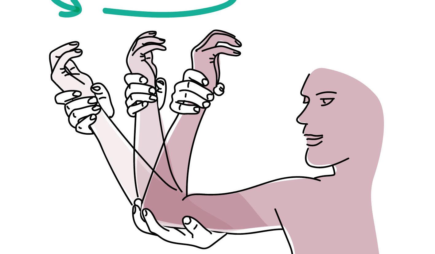 Illustration: Mensch dreht Ellenbogen und öffnet die Schultern