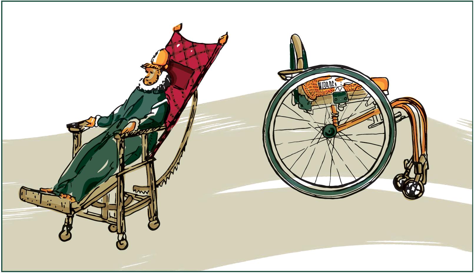 Zwei Rollstühle im Wandel der Zeit