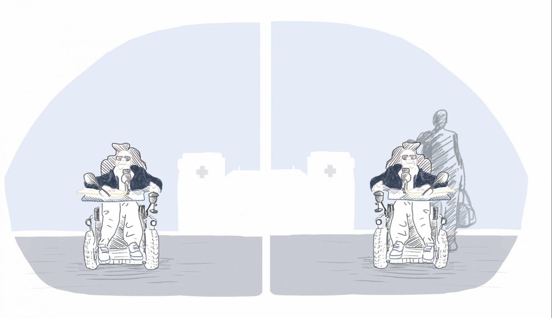 Illustartion einer Rollstuhlfahrers im Vergleich mit einem Rollstuhl-Fahrer und Assistent