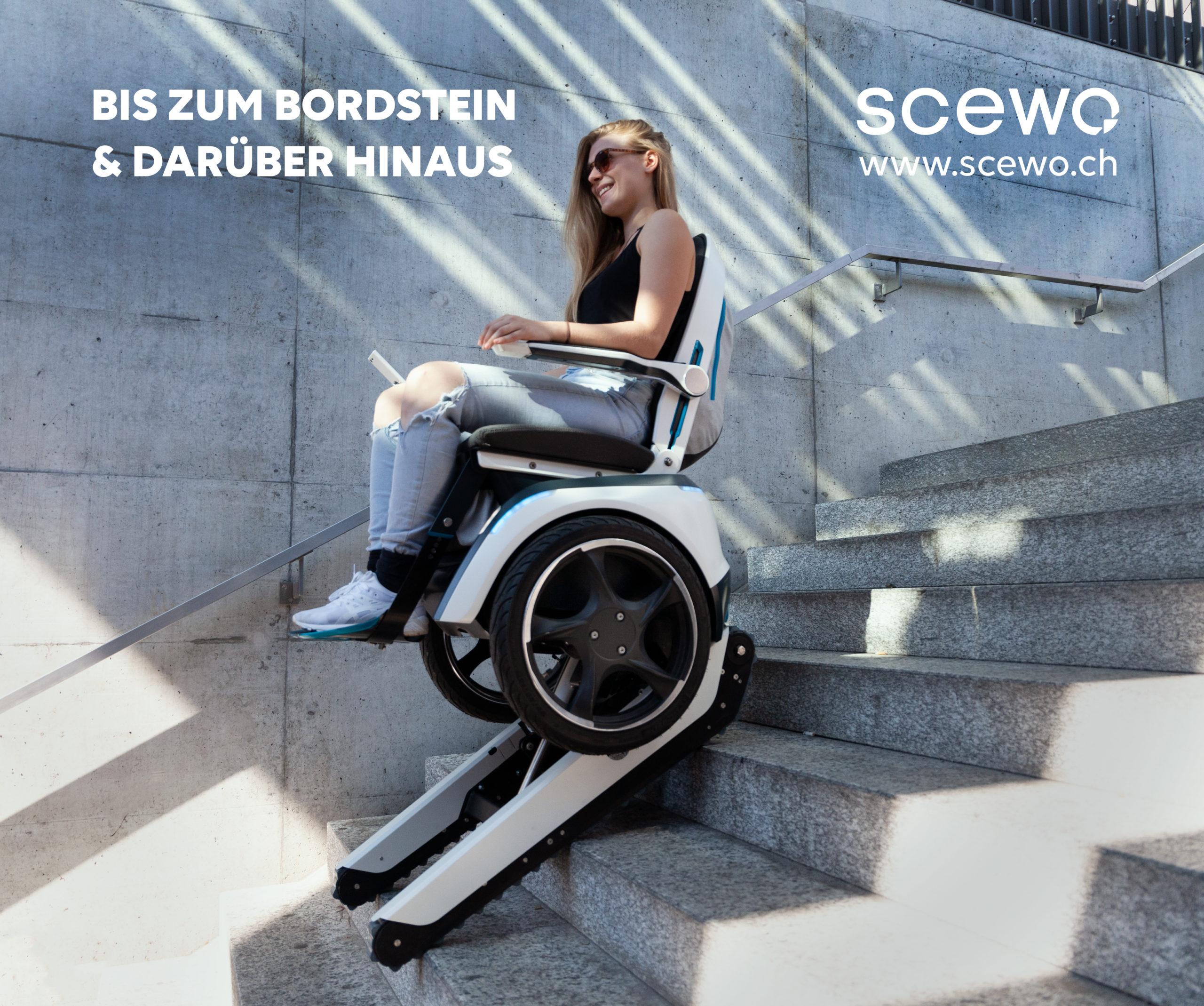 Werbeanzeige von Scewo zum treppensteigenden Rollstuhl
