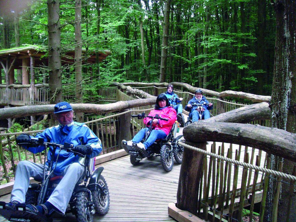 Rollstuhlfahrer auf dem Wilden Weg-Nationalpark-Eifel